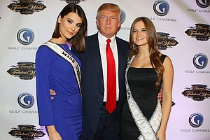 Miss Universe Stefania Fernandez, Donald Trump and Miss Teen USA Stormi Bree Henley pose for a photo prior to a special screening of Golf Channel's new celebrity reality series, Donald J Trump's Fabulous World of Golf on March 31, 2010 at Trump Towers in New York, New York.