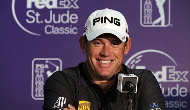 Lee Westwood answers questions from the media on the eve of the FedEx St. Jude Classic.
