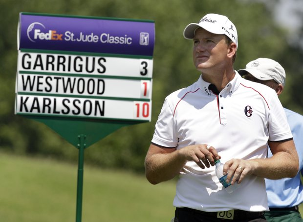 Robert Karlsson, of Sweden, prepares to tee off on the eighth hole during the second round of the St. Jude Classic golf tournament Friday, June 10, 2011, in Memphis, Tenn. Karlsson ended up with bogey on the hole and ended at 9-under part after the first two days of the tournament.