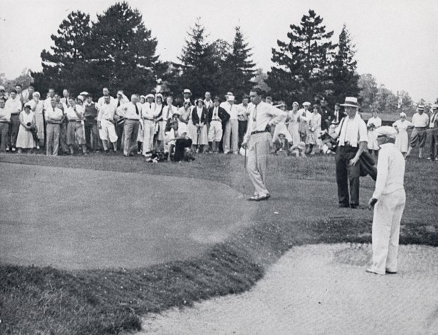 William Burke (Billy Burke), center, and George Von Elm, in bunker, during the 1931 U.S. Open Championship which was held at the Inverness Club, Toledo, Ohio.  Burke won the event, and Von Elm was the runner-up.