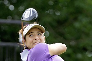 Mariajo Uribe of Colombia drives off the first tee during the second round of the LPGA State Farm Classic golf tournament Friday, June 10, 2011, in Springfield, Ill.