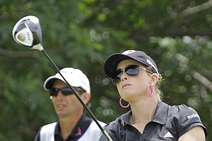 Paula Creamer drives off the first tee during the third round of the LPGA State Farm Classic golf tournament Saturday, June 11, 2011, in Springfield, Ill.
