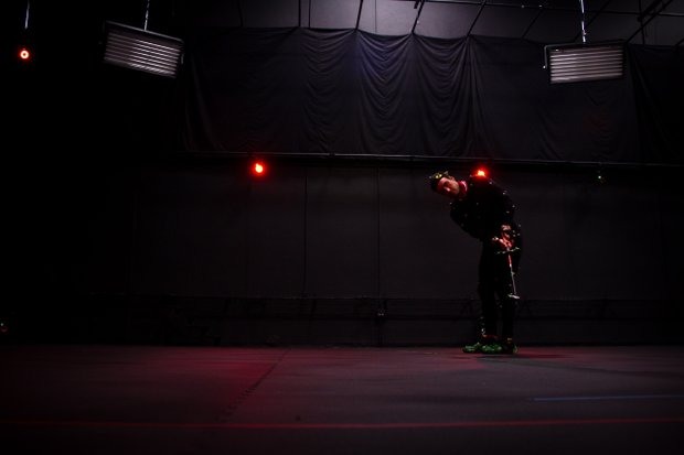 Edoardo Molinari shows off his putting stroke for the motion-capture team at EA Sports. Molinari went through nearly 150 swings as part of the session, which will be used to build the EA Sports Tiger Woods PGA TOUR '13 game, slated for release in the first half of 2012.