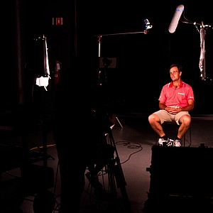 Edoardo Molinari answers questions from EA Sports officials as part of his motion-capture session in Orlando, Fla. on June 8, 2011. Molinari spent nearly two hours going through 150 swings, a photo shoot and the interview in preparation for the development of the EA Sports Tiger Woods PGA TOUR '13 game.