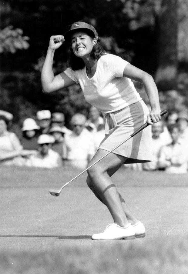 LPGA golfer Nancy Lopez reacts as she birdies on the 17th hole at the $1000,000 Golden Lights Tournament at Wykagyl Country Club in New Rochelle, N.Y., on May 29, 1978.