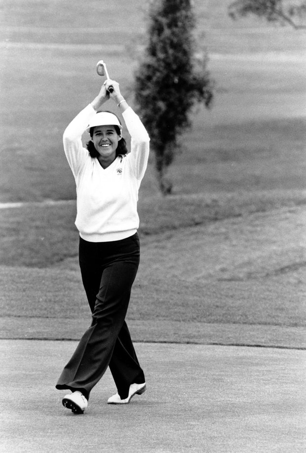 LPGA golfer Nancy Lopez reacts after sinking a birdie putt on the 14th hole during third round action in the Kathryn Crosby Golf Classic at Rancho Bernardo Golf Club in San Diego, Calif., on March 18, 1978.