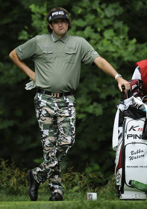 Bubba Watson waits his turn to hit from the 13th tee during the first round of the U.S. Open Championship golf tournament in Bethesda, Md., Thursday, June 16, 2011.