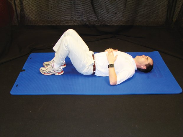 David Ostrow, CEO of Body Balance for Performance, says this is oneof the best exercises for golfers. It develops the gluteal muscles, which comprise the buttocks. Strong glutes are necessary to provide stability and strength during a golf swing. Ostrow says this exercise can be performed by people with bad backs.   1. Start with the feet and back flat on the floor.  2. Raise the buttocks to form a straight line across the chest to the knees.  3. Straighten a leg without allowing the back to dip toward the floor. Alternate legs.