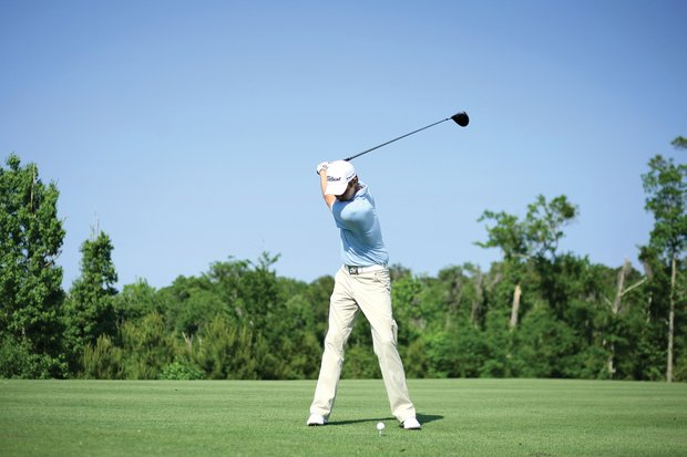 Chris Kirk at Frederica Golf Club in St. Simons Island, with swing coach, Mark Love.