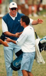 Andrew Sapp giving congrats to former Tar Heel Mark Wilson at the 1996 ACC Championship. Wilson has won twice on the PGA Tour this year.