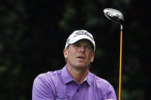 Steve Stricker watches his drive from the 14th tee during the second round of the U.S. Open Championship golf tournament in Bethesda, Md., Friday, June 17, 2011.