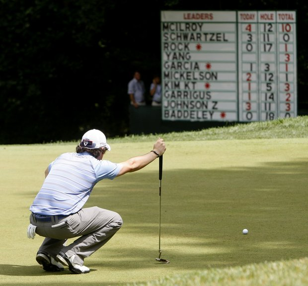 Rory McIlroy, of Northern Ireland, looks over his putt on the 13th green during the second round of the U.S. Open Championship golf tournament in Bethesda, Md., Friday, June 17, 2011.