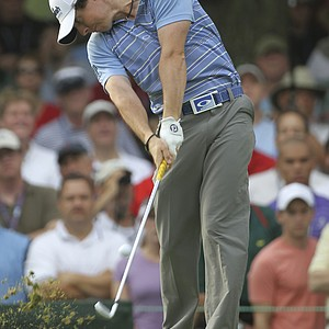Rory McIlroy, of Northern Ireland, drives from the second tee during the second round of the U.S. Open Championship golf tournament in Bethesda, Md., Friday, June 17, 2011.