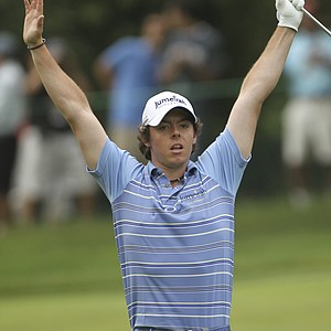 Rory McIlroy, of Northern Ireland, reacts to his eagle on the eighth hole during the second round of the U.S. Open Championship golf tournament in Bethesda, Md., Friday, June 17, 2011.