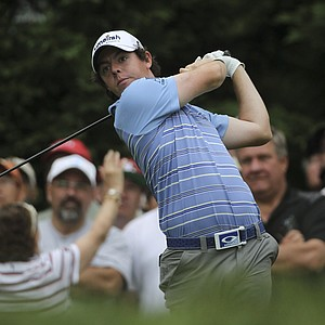 Rory McIlroy, of Northern Ireland, watches his drive from the fifth tee during the second round of the U.S. Open Championship golf tournament in Bethesda, Md., Friday, June 17, 2011.