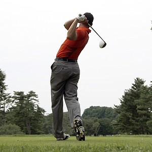 Sergio Garcia, of Spain, tees off on the fourth hole during the third round of the U.S. Open Championship golf tournament in Bethesda, Md., Saturday, June 18, 2011.