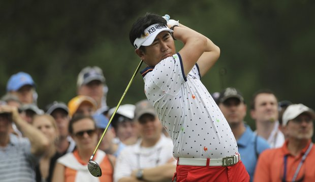 Y. E. Yang, of South Korea, tees off on the eighth hole during the final round of the U.S. Open Championship golf tournament in Bethesda, Md., Sunday, June 19, 2011.