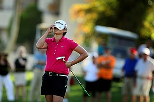 Yani Tseng reacts to missing her putt at No. 17 during the final round of the Kraft Nabisco Championship.