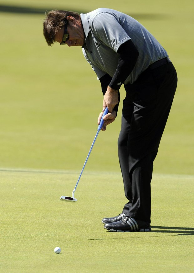 Sir Nick Faldo during a practice round ahead of The Open Championship 2010 at St Andrews, Fife, Scotland.