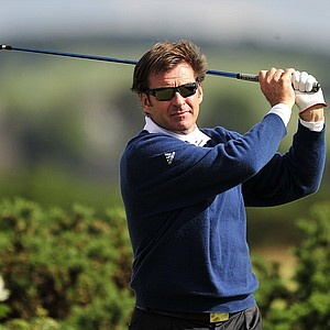 England's Sir Nick Faldo in action during round two of The Open Championship 2010 at St Andrews.