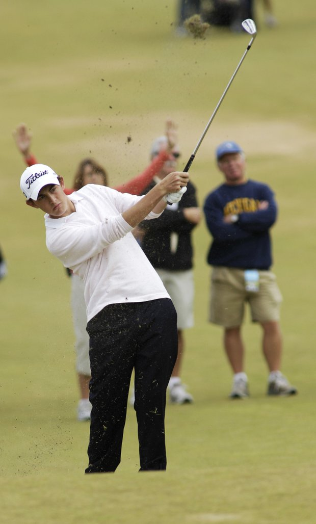 Patrick Cantlay makes a fairway shot in the quarterfinal round of the U.S. Amateur golf tournament, Friday, Aug. 27, 2010, at Chambers Bay in University Place, Wash.