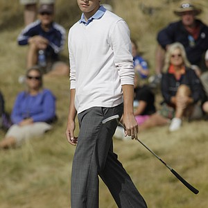 Patrick Cantlay reacts to a putt on the fifth hole in a semifinal match of the U.S. Amateur golf tournament, Saturday, Aug. 28, 2010, at Chambers Bay in University Place, Wash. Cantlay was defeated by Peter Uihlein Saturday, and Uihlein will face David Chung in the final match Sunday.