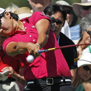 Yani Tseng, of Taiwan, drives on the second hole during the final round of the LPGA Kraft Nabisco Championship golf tournament in Rancho Mirage, Calif., Sunday, April 3, 2011.