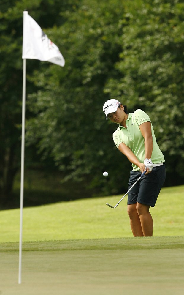 Yani Tseng of Taiwan chips to the ninth green during the Avnet LPGA Classic Pro-Am Wednesday, April 27, 2011, at Magnolia Grove in Mobile, Ala.