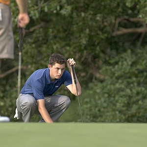 UCLA's Patrick Cantlay lines up his final putt of the day on the 18th green during the Division I Men's Golf Championship held at the Karsten Creek Golf Course in Stillwater,OK. Patrick Cantlay placed second in the individual championship with a combined score of 212.