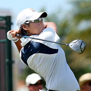 Yani Tseng tees off on the 10th hole during the third round of the LPGA Ginn Open at Reunion Resort, Saturday April 19, 2008.