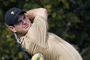 International Presidents Cup team member Rory Sabbatini, from South Africa, tees off during the second practice round at the Royal Montreal Golf Club in Montreal Wednesday, Sept. 26, 2007.