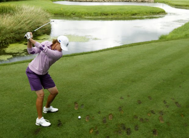 Team Europe's Helen Alfredsson of Sweden hits a drive on the fifth hole during a practice round for the Solheim Cup golf tournament Thursday, Aug. 20, 2009, at Rich Harvest Farms in Sugar Grove, Ill.