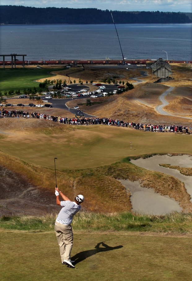 Peter Uihlein tees off on the ninth hole during a semifinal match at the U.S. Amateur golf tournament, Saturday, Aug. 28, 2010, at Chambers Bay in University Place, Wash. Uihlein will face David Chung in the final match on Sunday.