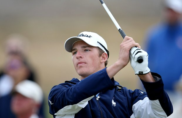 Morgan Hoffmann during quarterfinals of the 110th U.S. Amateur Championship at Chambers Bay in University Place, Wash.