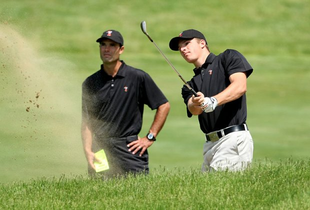 Oklahoma State's Morgan Hoffmann with assistant coach Donnie Darr during the 2009 NCAA Golf Championships at Inverness Club in Toledo, OH.