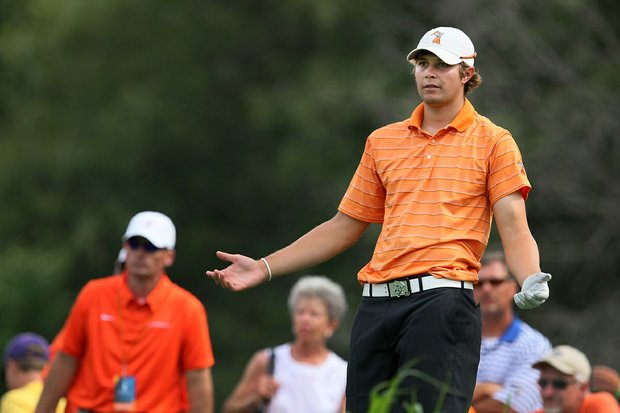 Oklahoma State's Peter Uihlein drops his club at No. 12 during Thursday stroke play at the 2011 NCAA Division I Men's Golf Championship at Karsten Creek in Stillwater, Oklahoma.