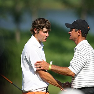 Oklahoma State's Alan Bratton with Peter Uihlein during Quarterfinals of Friday's Match Play at the 2011 NCAA Division I Men's Golf Championship at Karsten Creek in Stillwater, Oklahoma.