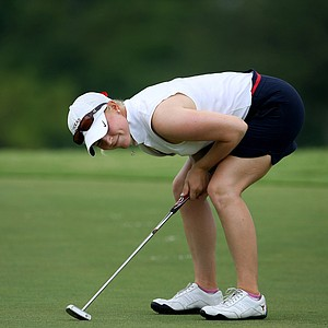 Madison Pressel reacts to a missed putt at No. 8 during the semifinals of the Women's Western Amateur.