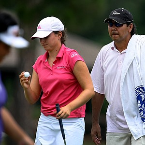 Victoria Tanco with caddie Ruben Yorio during the quarterfinals of the Women's Western Amateur.