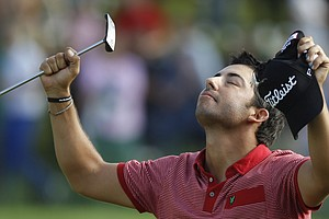 Pablo Larrazabal of Spain celebrates after winning the BMW International Open 2011 golf tournament in Eichenried near Munich, southern Germany, on Sunday, June 26, 2011.