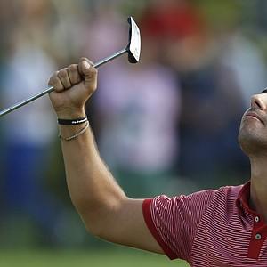 Pablo Larrazabal of Spain celebrates after winning the BMW International Open 2011 golf tournament in Eichenried near Munich, southern Germany, on Sunday, June 26, 2011.