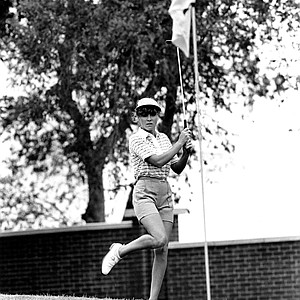 LPGA golfer Jan Stephenson dances as she birdies on the 5th hole of the final round of the Mary Kay Golf Classic in Dallas, Tex., on Aug. 16, 1981.