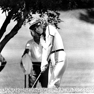LPGA golfer Jan Stephenson watches the flight of her golf ball on the 15th green during the opening round of the Columbia Savings Ladies Professional Golf Association Classic in Denver, Colo., on Aug. 28, 1981.