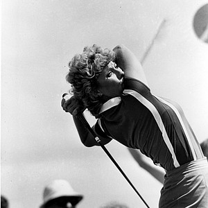 Jan Stephenson watches the flight of her tee shot on the 14th hole of the Grizzly course at the Jack Nicklaus Sports Center near Mason, Ohio, during the second round of the LPGA Championship, Friday, June 11, 1982. Stephenson shot her second consecutive 3-under-par 69 to take an early two stroke lead in the tournament.