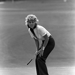 Jan Stephenson watches as she tries to coax in a putt on the 15th green of the Jack Nicklaus Sports Center near Mason, Ohio, June 13, 1982, during the final round of the LPGA Championship. Stephenson went on to win the $200,000 Tournament.