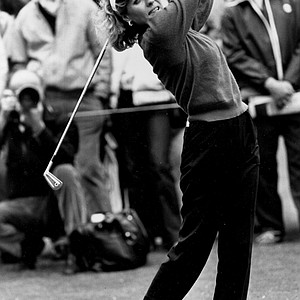 Jan Stephenson, 33-year-old Phoenix-based Australian golfer, is shown in action during the Women's Hennessy Golf Cup held in Saint Cloud, outside Paris, France, May 11, 1985. Stephenson shot a five-under-par final round of 69 over the par-74, 5,640 meter course and finished at 13-under-par on 283. She won the trophy and 6,250 dollars in prize money.