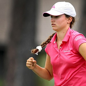 Victoria Tanco pumps a fist during match play at the Women's Western Amateur.
