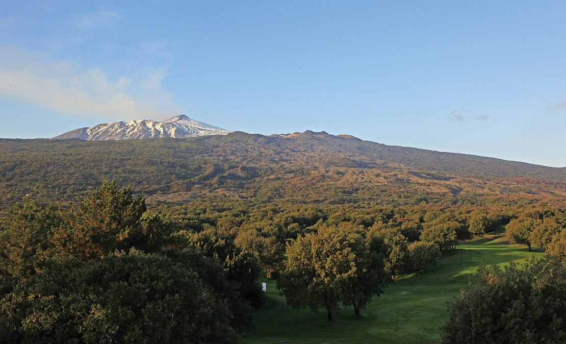 Mount Etna, as viewed from Il Picciolo Golf Club.