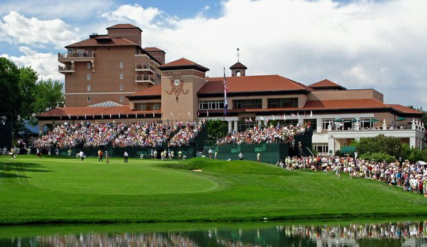 A view of the 18th hole at The Broadmoor in Colorado Springs, Colo.