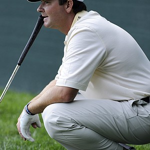 Hunter Haas waits to putt on the 18th green during the first round of the AT&T National golf tournament at Aronimink Golf Club, Thursday, June 30, 2011, in Newtown Square, Pa.